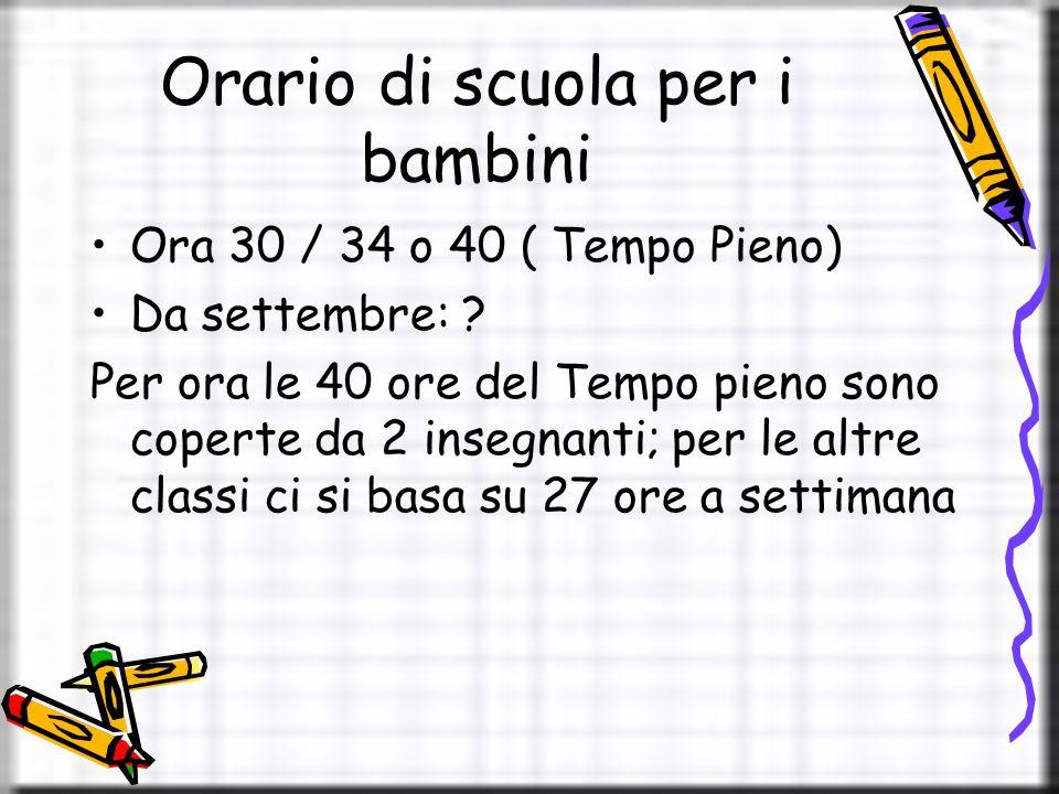Orario di scuola per i bambini Ora 30 / 34 o 40 ( Tempo Pieno) Da settembre: .