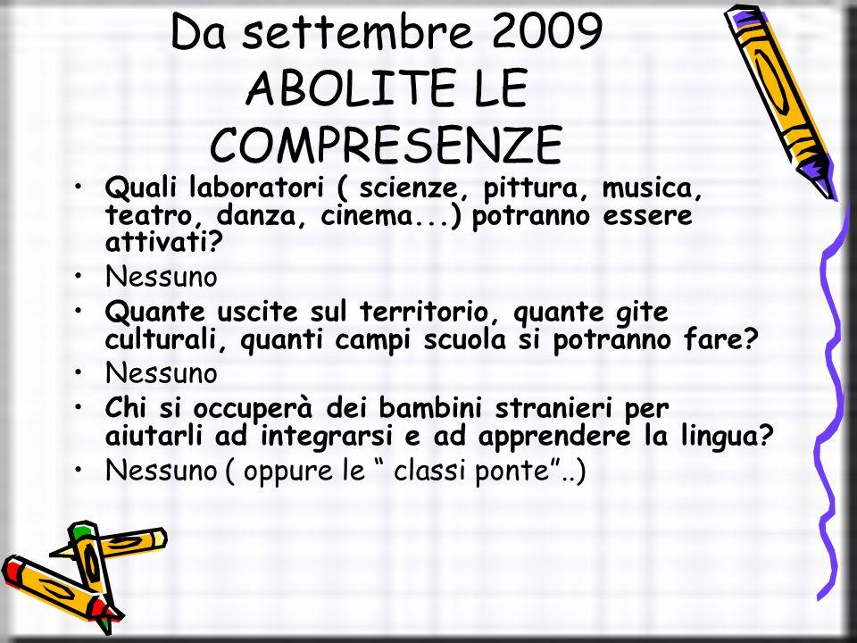 Da settembre 2009 ABOLITE LE COMPRESENZE Quali laboratori ( scienze, pittura, musica, teatro, danza, cinema...) potranno essere attivati.