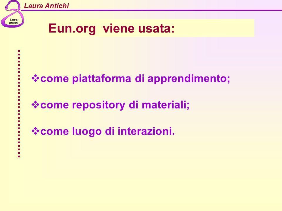 Laura Antichi Eun.org viene usata:  come piattaforma di apprendimento;  come repository di materiali;  come luogo di interazioni.