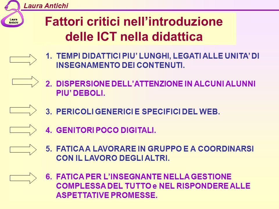 Laura Antichi Fattori critici nell'introduzione delle ICT nella didattica 1.TEMPI DIDATTICI PIU' LUNGHI, LEGATI ALLE UNITA' DI INSEGNAMENTO DEI CONTEN