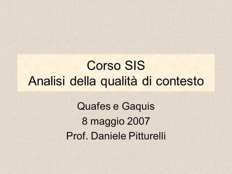 Corso SIS Analisi della qualità di contesto Quafes e Gaquis 8 maggio 2007 Prof. Daniele Pitturelli