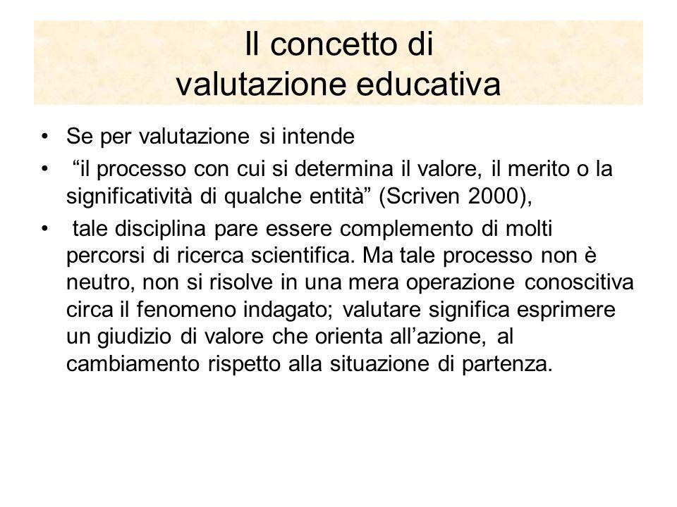 Il concetto di valutazione educativa Se per valutazione si intende il processo con cui si determina il valore, il merito o la significatività di qualche entità (Scriven 2000), tale disciplina pare essere complemento di molti percorsi di ricerca scientifica.