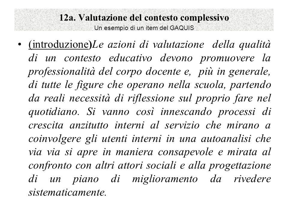 12a. Valutazione del contesto complessivo Un esempio di un item del GAQUIS (introduzione)Le azioni di valutazione della qualità di un contesto educati