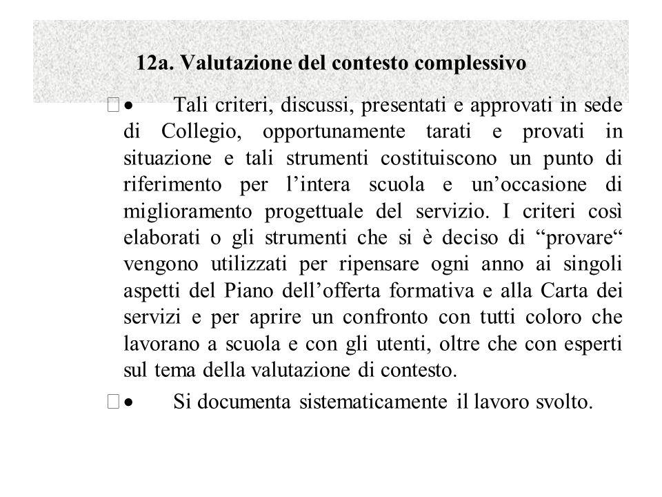 12a. Valutazione del contesto complessivo  Tali criteri, discussi, presentati e approvati in sede di Collegio, opportunamente tarati e provati in si