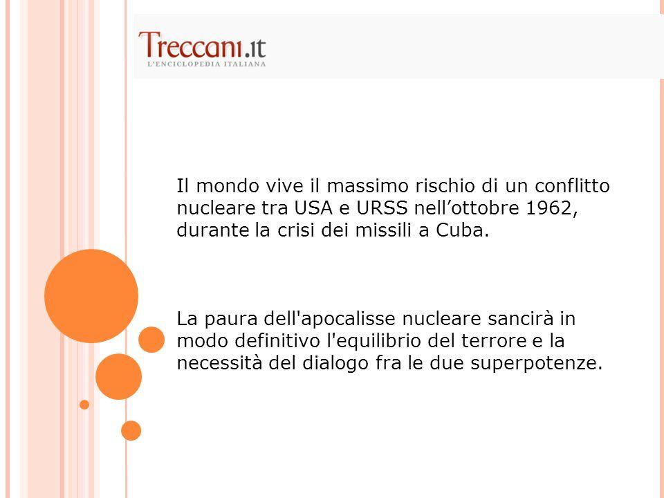 Il mondo vive il massimo rischio di un conflitto nucleare tra USA e URSS nell'ottobre 1962, durante la crisi dei missili a Cuba.