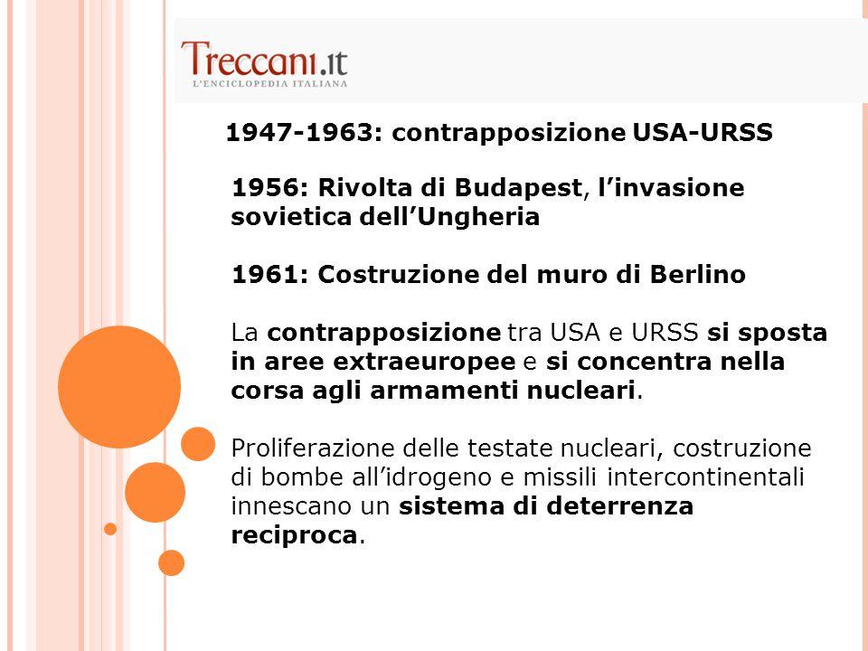 URSS in fase di intensa crescita industriale e tecnologica (1957: lancio dello Sputnik, 1961: primo uomo nello spazio).