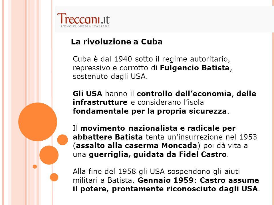Cuba è dal 1940 sotto il regime autoritario, repressivo e corrotto di Fulgencio Batista, sostenuto dagli USA.