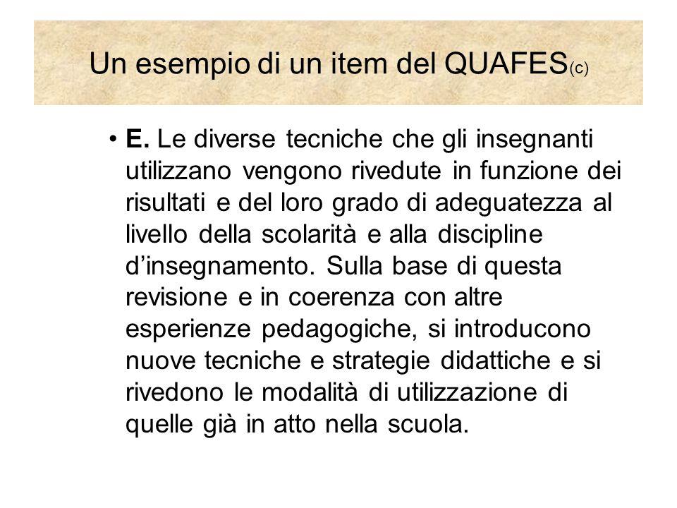 Un esempio di un item del QUAFES (c) E. Le diverse tecniche che gli insegnanti utilizzano vengono rivedute in funzione dei risultati e del loro grado