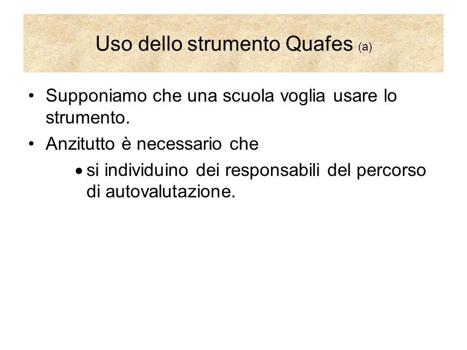 Uso dello strumento Quafes (a) Supponiamo che una scuola voglia usare lo strumento. Anzitutto è necessario che  si individuino dei responsabili del p