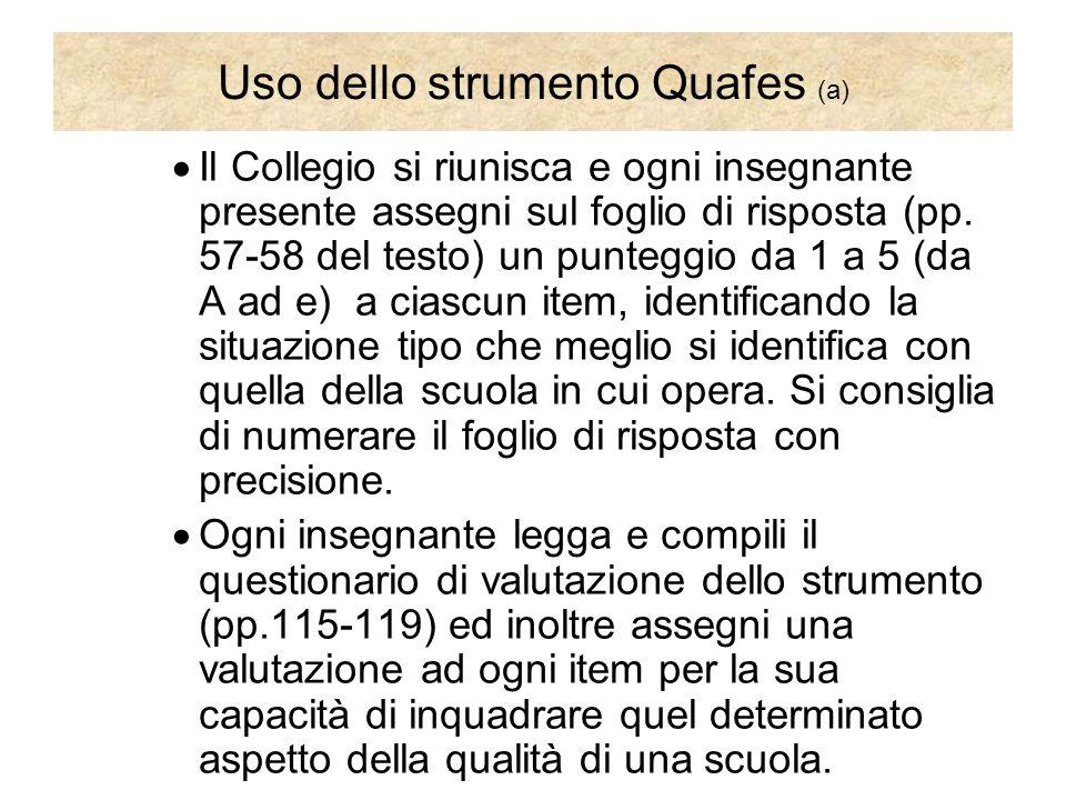 Uso dello strumento Quafes (a)  Il Collegio si riunisca e ogni insegnante presente assegni sul foglio di risposta (pp. 57-58 del testo) un punteggio