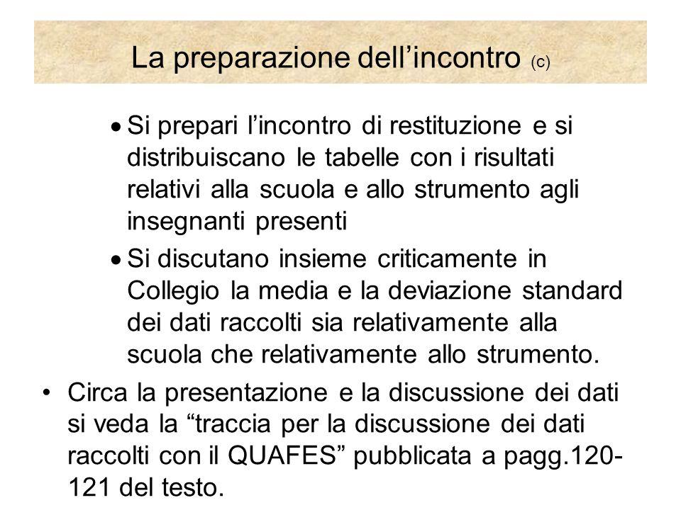 La preparazione dell'incontro (c)  Si prepari l'incontro di restituzione e si distribuiscano le tabelle con i risultati relativi alla scuola e allo s