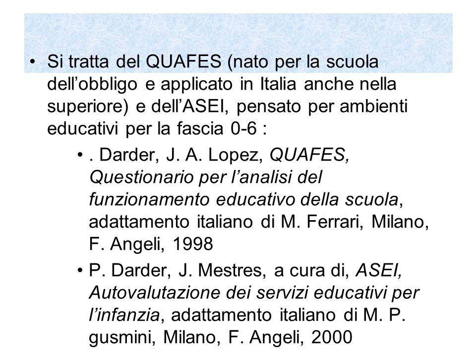 Il QUAFES Il QUAFES (P.Darder, J.A Lopez, QUAFES, Questionario per l'analisi del funzionamento educativo della scuola, adattamento italiano di M.
