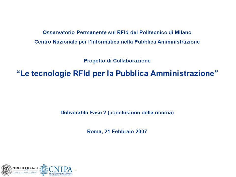 1 Osservatorio Permanente sul RFId del Politecnico di Milano Centro Nazionale per l'Informatica nella Pubblica Amministrazione Progetto di Collaborazi