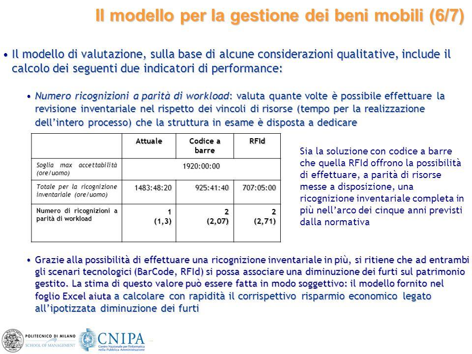 27 Il modello di valutazione, sulla base di alcune considerazioni qualitative, include il calcolo dei seguenti due indicatori di performance:Il modell