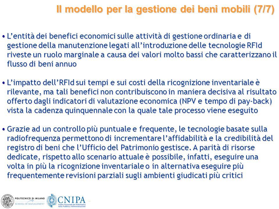 28 Il modello per la gestione dei beni mobili (7/7) L'entità dei benefici economici sulle attività di gestione ordinaria e di gestione della manutenzi