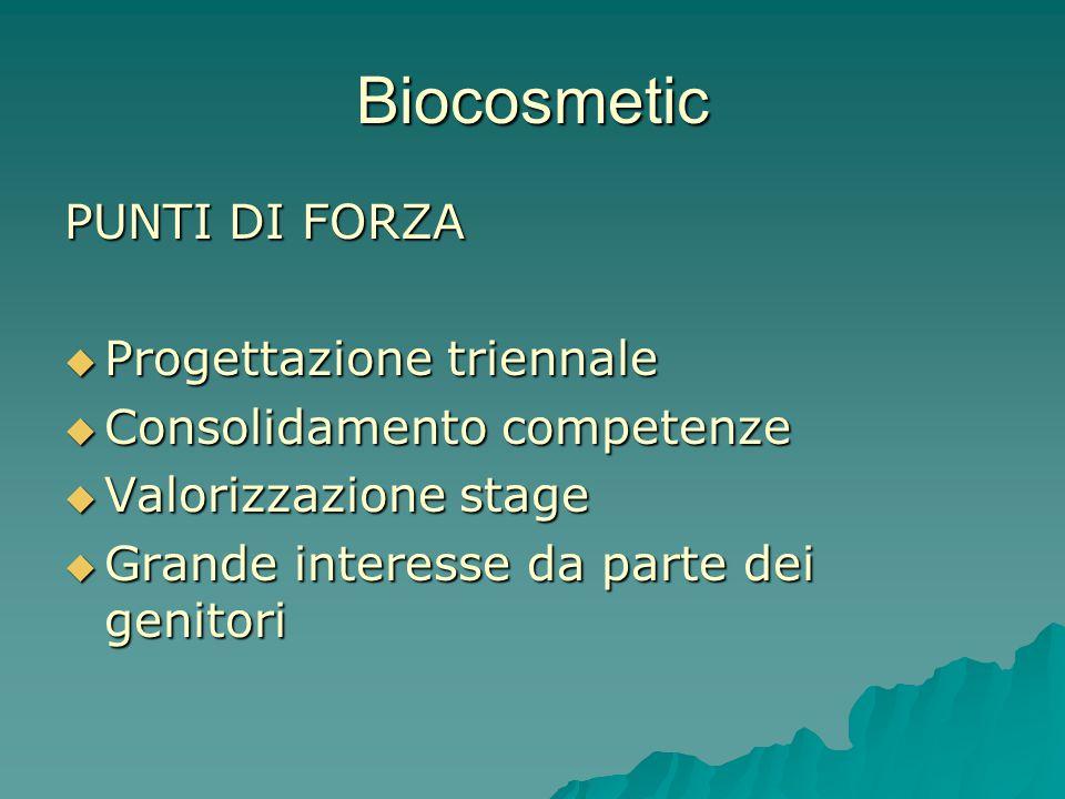 Biocosmetic PUNTI DI FORZA  Progettazione triennale  Consolidamento competenze  Valorizzazione stage  Grande interesse da parte dei genitori