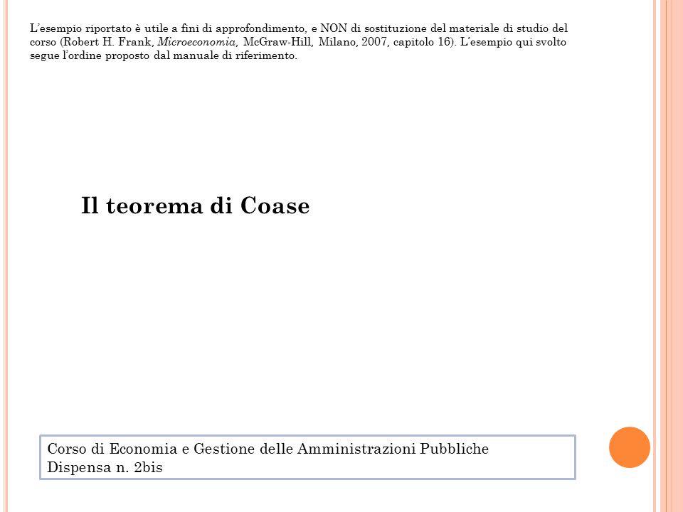 Il teorema di Coase L'esempio riportato è utile a fini di approfondimento, e NON di sostituzione del materiale di studio del corso (Robert H.