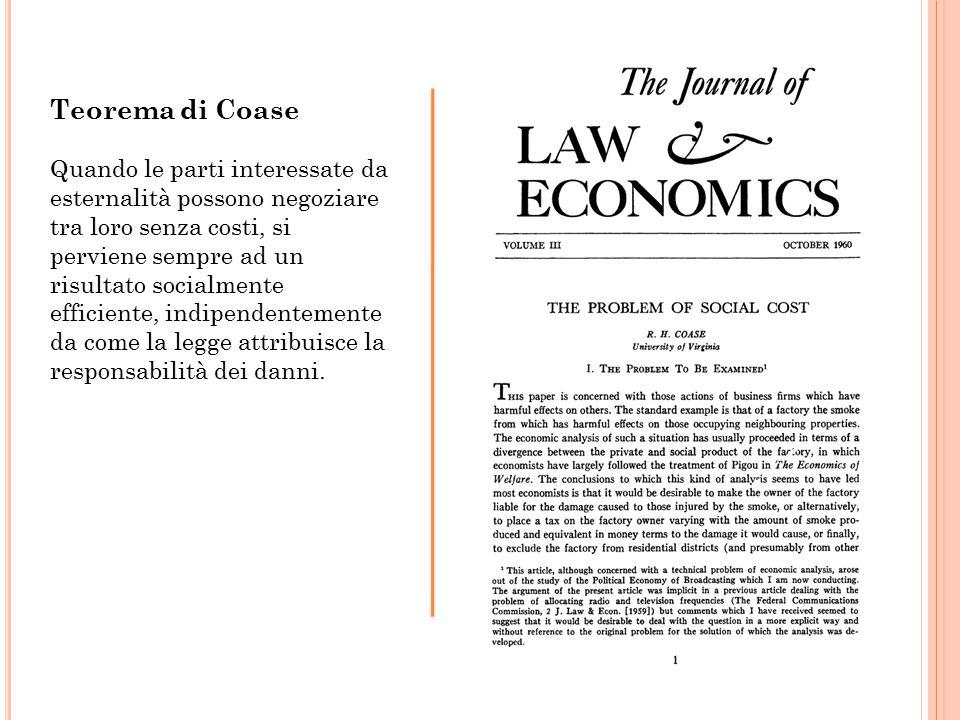 Teorema di Coase Quando le parti interessate da esternalità possono negoziare tra loro senza costi, si perviene sempre ad un risultato socialmente efficiente, indipendentemente da come la legge attribuisce la responsabilità dei danni.