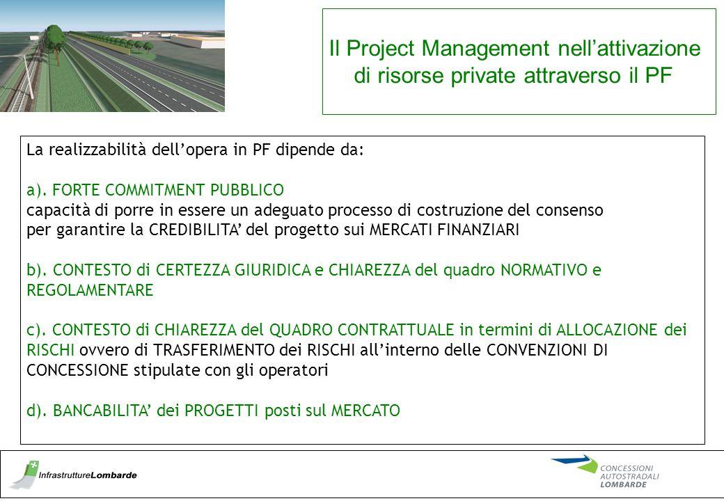Il Project Management nell'attivazione di risorse private attraverso il PF La realizzabilità dell'opera in PF dipende da: a). FORTE COMMITMENT PUBBLIC