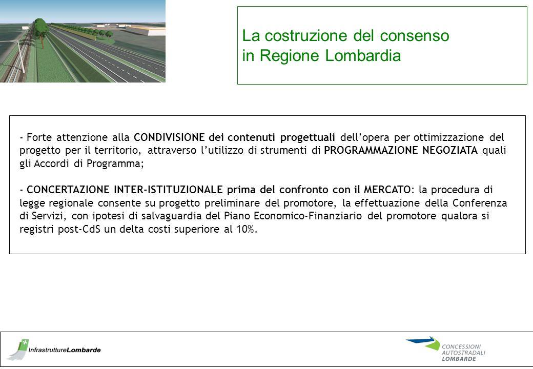 La costruzione del consenso in Regione Lombardia - Forte attenzione alla CONDIVISIONE dei contenuti progettuali dell'opera per ottimizzazione del prog