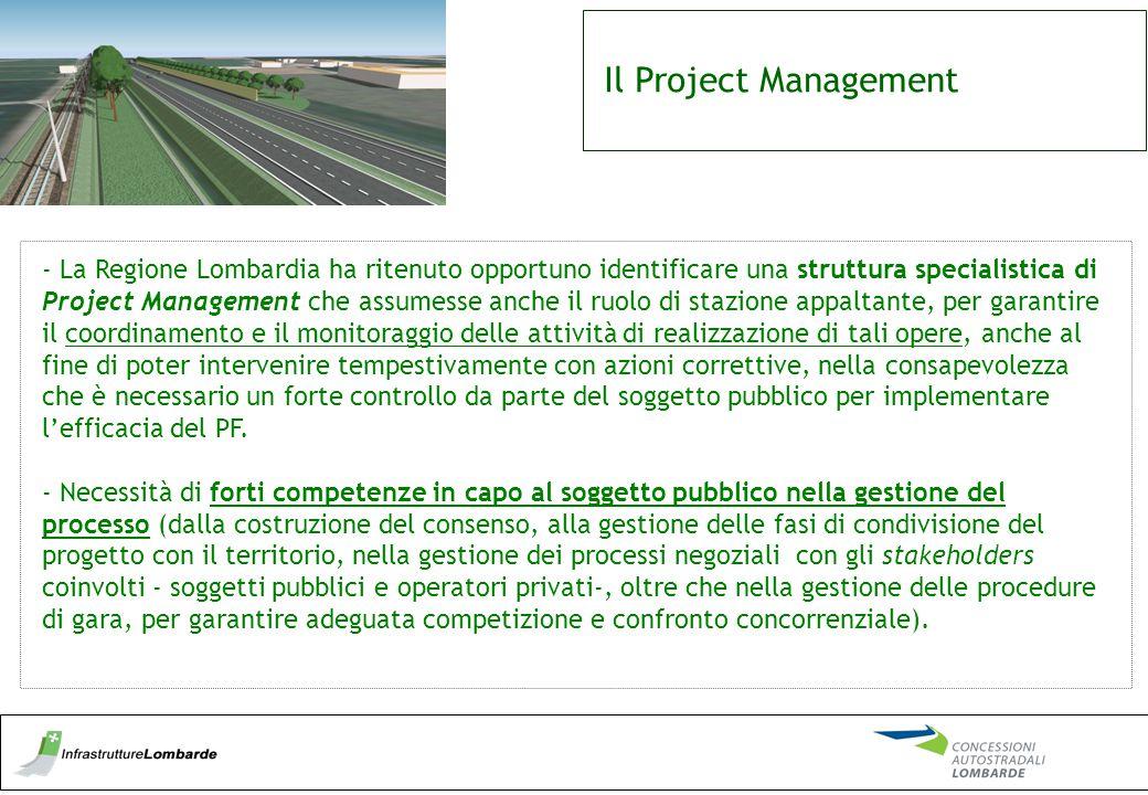Il Project Management - La Regione Lombardia ha ritenuto opportuno identificare una struttura specialistica di Project Management che assumesse anche