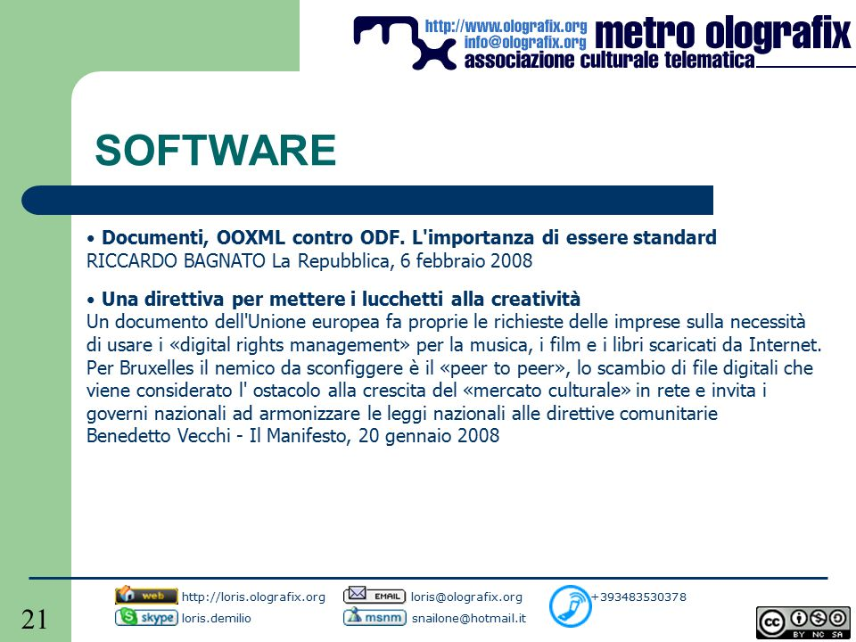 21 SOFTWARE Documenti, OOXML contro ODF.