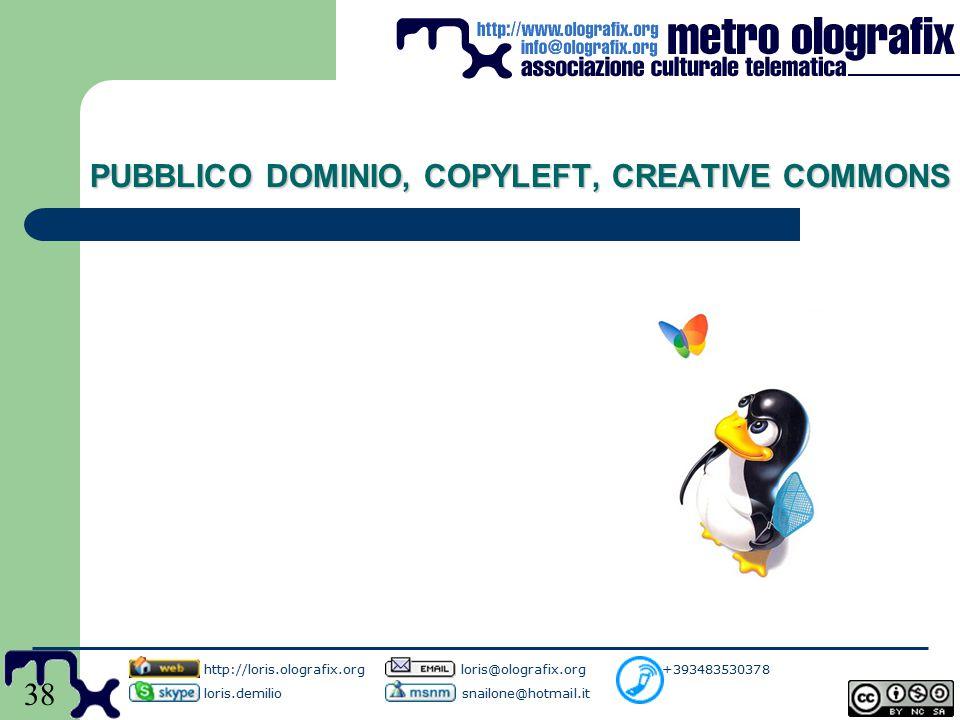 38 PUBBLICO DOMINIO, COPYLEFT, CREATIVE COMMONS http://loris.olografix.org loris@olografix.org +393483530378 loris.demilio snailone@hotmail.it