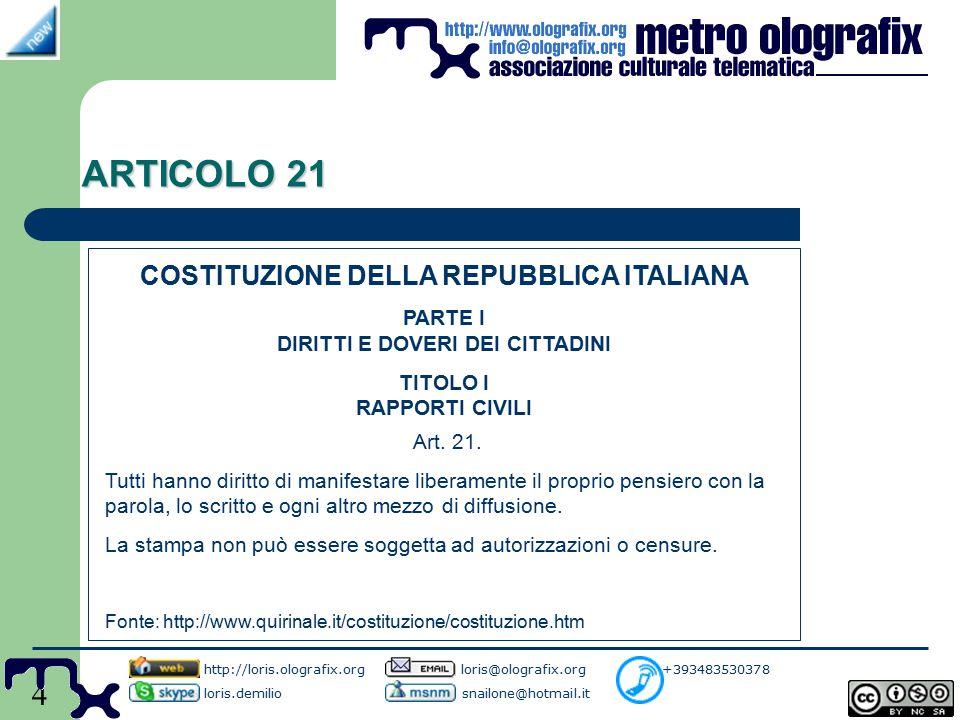 4 ARTICOLO 21 http://loris.olografix.org loris@olografix.org +393483530378 loris.demilio snailone@hotmail.it COSTITUZIONE DELLA REPUBBLICA ITALIANA PARTE I DIRITTI E DOVERI DEI CITTADINI TITOLO I RAPPORTI CIVILI Art.