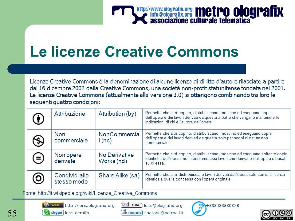 55 Le licenze Creative Commons Licenze Creative Commons è la denominazione di alcune licenze di diritto d autore rilasciate a partire dal 16 dicembre 2002 dalla Creative Commons, una società non-profit statunitense fondata nel 2001.