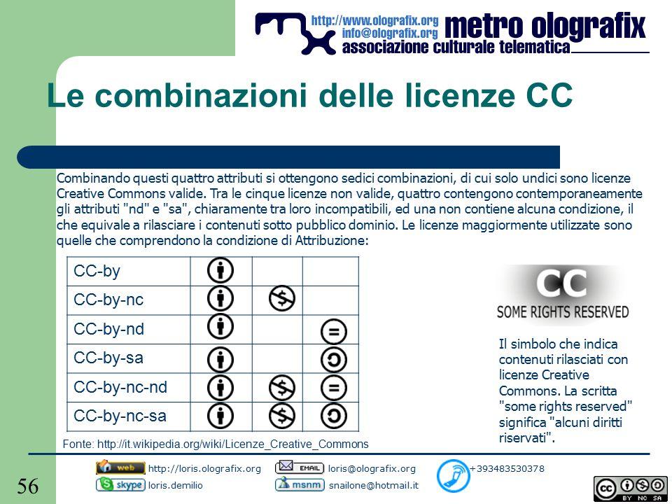 56 Le combinazioni delle licenze CC Combinando questi quattro attributi si ottengono sedici combinazioni, di cui solo undici sono licenze Creative Commons valide.