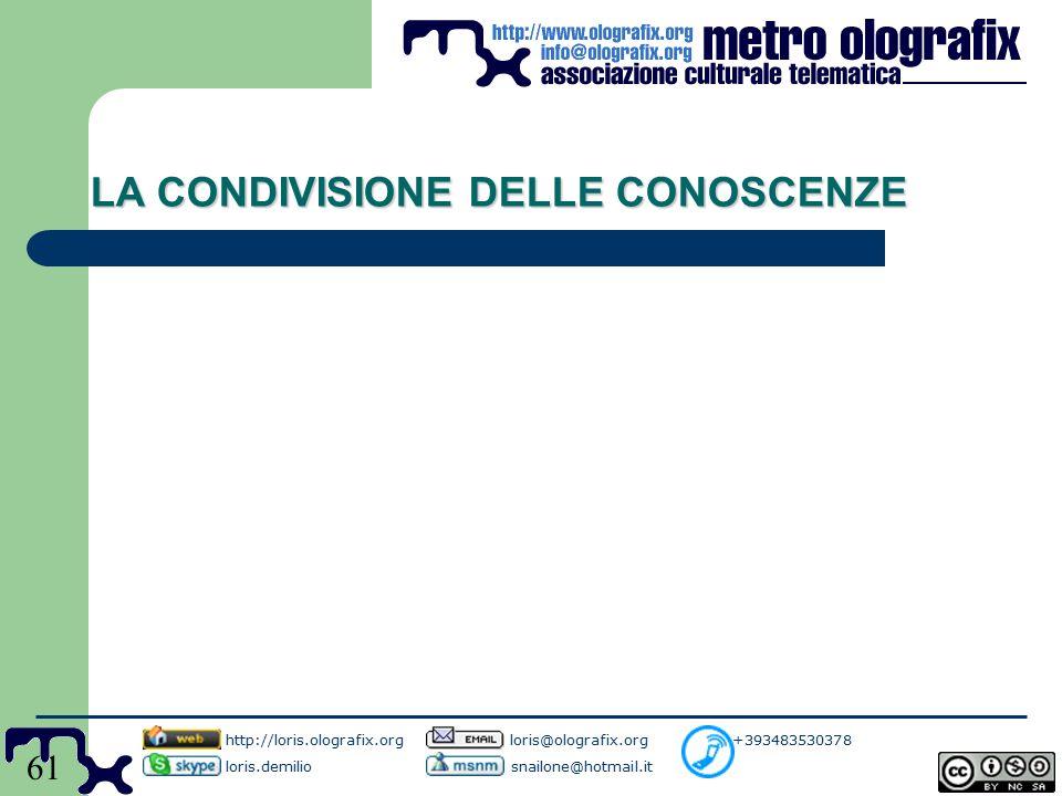 61 LA CONDIVISIONE DELLE CONOSCENZE http://loris.olografix.org loris@olografix.org +393483530378 loris.demilio snailone@hotmail.it