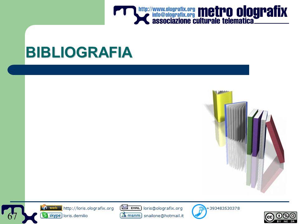 67 BIBLIOGRAFIA http://loris.olografix.org loris@olografix.org +393483530378 loris.demilio snailone@hotmail.it