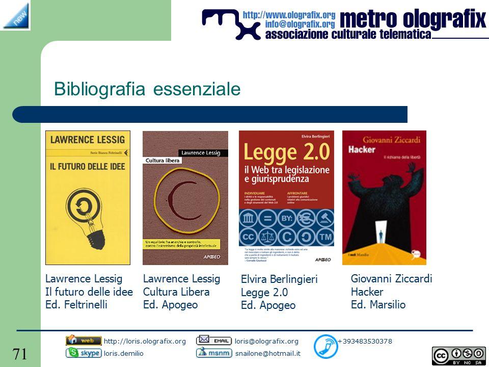 71 Bibliografia essenziale http://loris.olografix.org loris@olografix.org +393483530378 loris.demilio snailone@hotmail.it Lawrence Lessig Il futuro delle idee Ed.