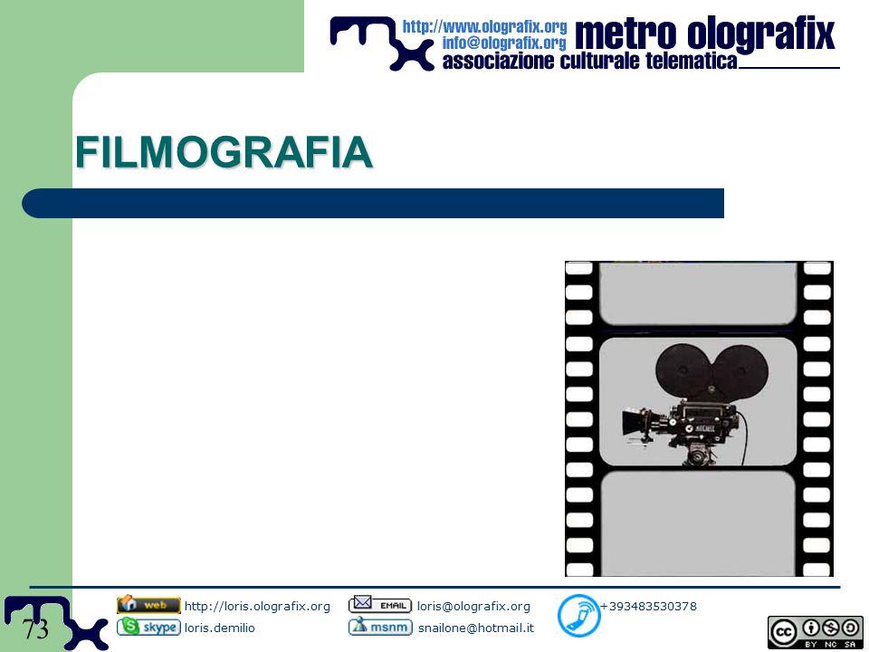73 FILMOGRAFIA http://loris.olografix.org loris@olografix.org +393483530378 loris.demilio snailone@hotmail.it