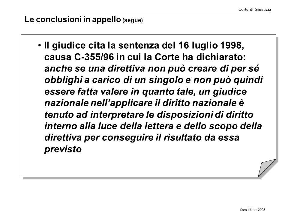Sara d'Urso 2005 Le conclusioni in appello (segue) Il giudice cita la sentenza del 16 luglio 1998, causa C-355/96 in cui la Corte ha dichiarato: anche