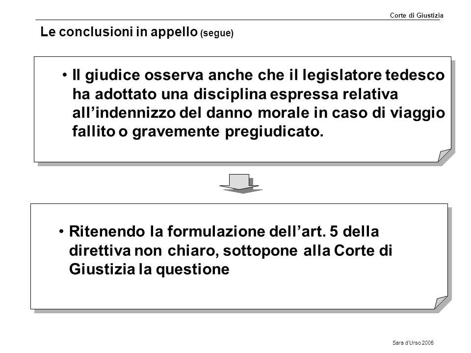 Sara d'Urso 2005 Le conclusioni in appello (segue) Il giudice osserva anche che il legislatore tedesco ha adottato una disciplina espressa relativa al