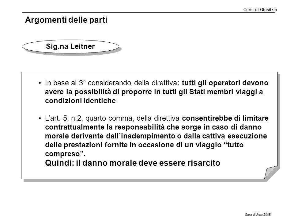 Sara d'Urso 2005 Argomenti delle parti Sig.na Leitner In base al 3° considerando della direttiva: tutti gli operatori devono avere la possibilità di p