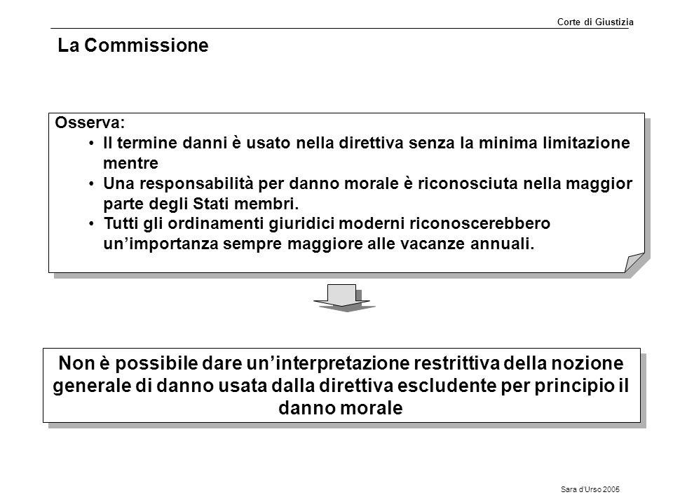 Sara d'Urso 2005 La Commissione Osserva: Il termine danni è usato nella direttiva senza la minima limitazione mentre Una responsabilità per danno mora