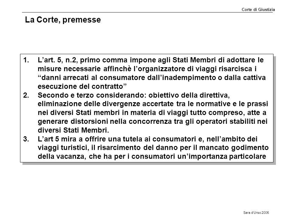 Sara d'Urso 2005 La Corte, premesse 1.L'art. 5, n.2, primo comma impone agli Stati Membri di adottare le misure necessarie affinchè l'organizzatore di