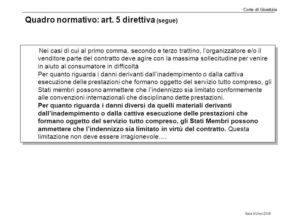Sara d'Urso 2005 Quadro normativo: art. 5 direttiva (segue) Nei casi di cui al primo comma, secondo e terzo trattino, l'organizzatore e/o il venditore