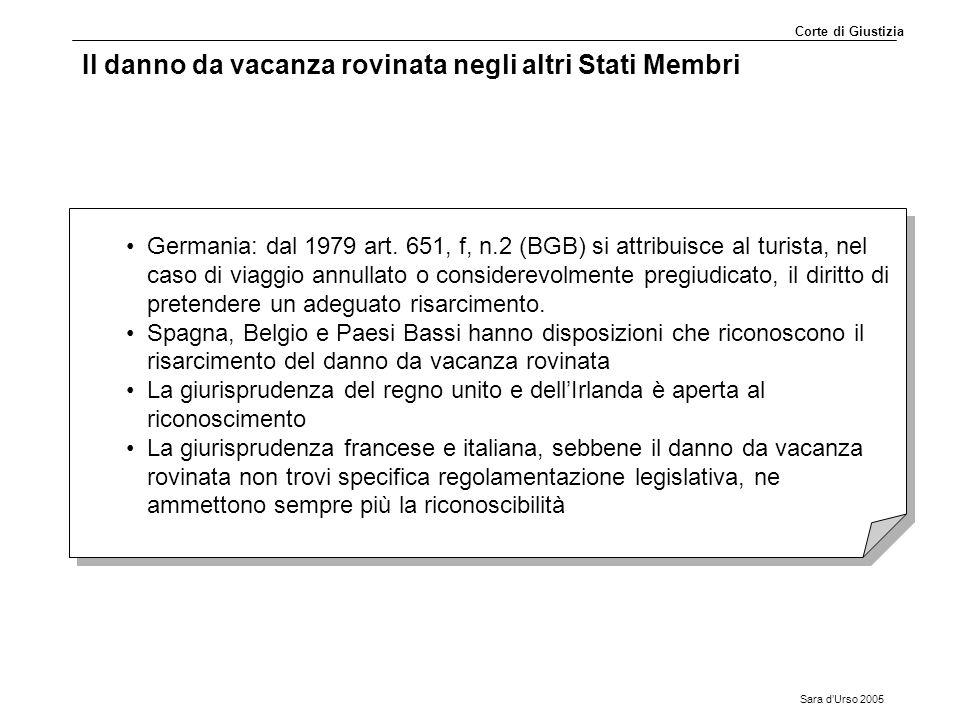 Sara d'Urso 2005 Il danno da vacanza rovinata negli altri Stati Membri Germania: dal 1979 art. 651, f, n.2 (BGB) si attribuisce al turista, nel caso d