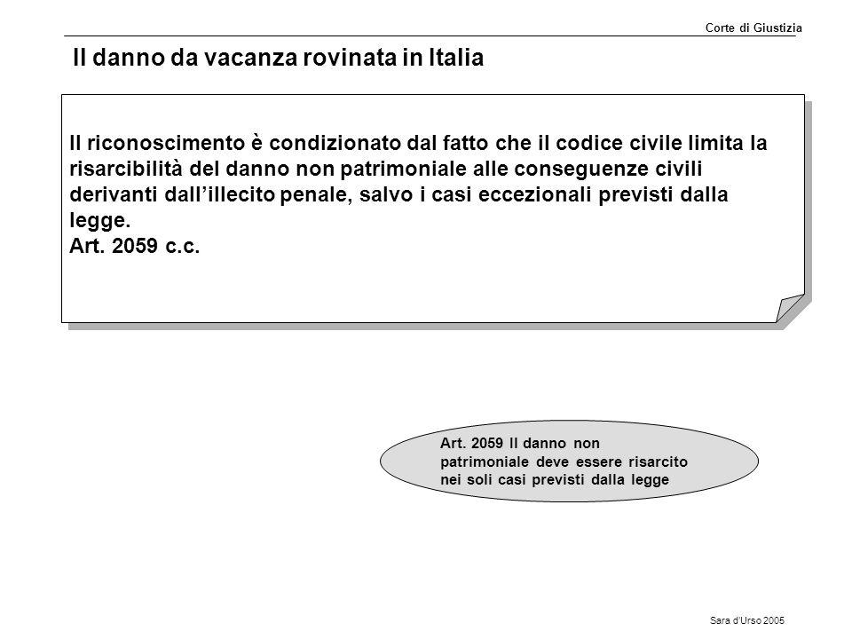 Sara d'Urso 2005 Il danno da vacanza rovinata in Italia Il riconoscimento è condizionato dal fatto che il codice civile limita la risarcibilità del da