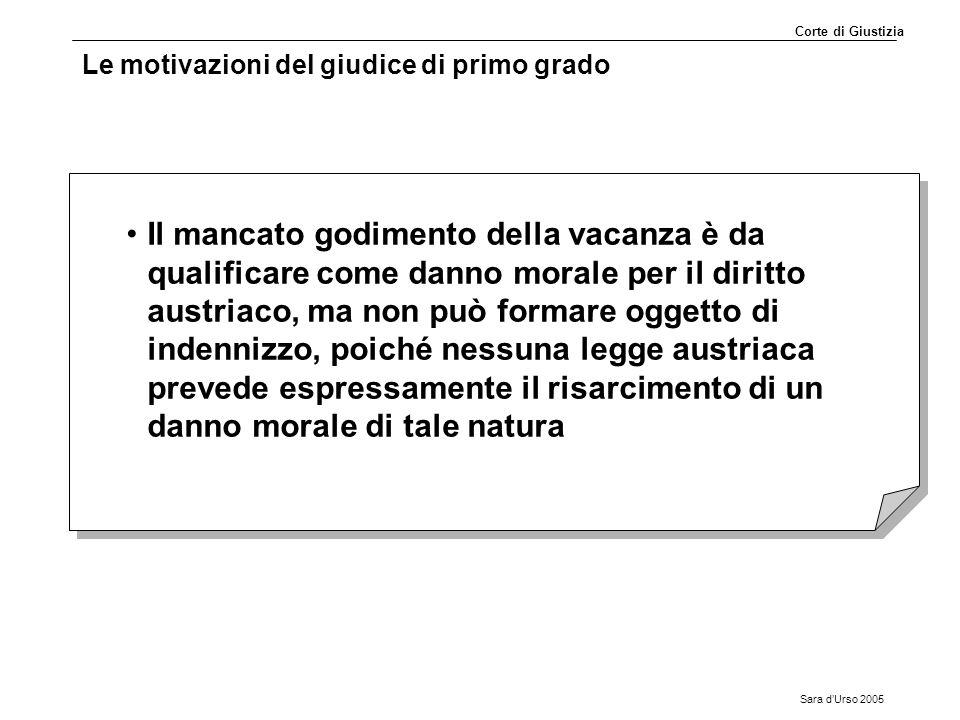Sara d'Urso 2005 Le motivazioni del giudice di primo grado Il mancato godimento della vacanza è da qualificare come danno morale per il diritto austri