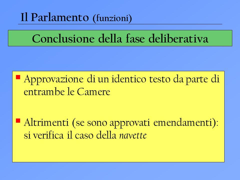Conclusione della fase deliberativa  Approvazione di un identico testo da parte di entrambe le Camere  Altrimenti (se sono approvati emendamenti): s