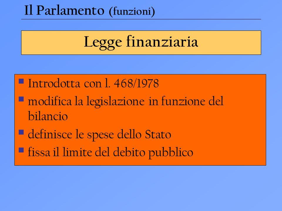 Legge finanziaria  Introdotta con l. 468/1978  modifica la legislazione in funzione del bilancio  definisce le spese dello Stato  fissa il limite