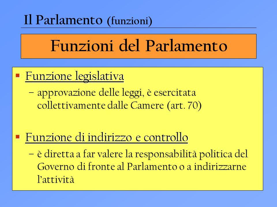 Funzioni del Parlamento  Funzione legislativa –approvazione delle leggi, è esercitata collettivamente dalle Camere (art. 70)  Funzione di indirizzo