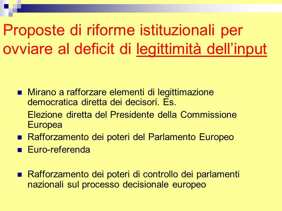 Proposte di riforme istituzionali per ovviare al deficit di legittimità dell'input Mirano a rafforzare elementi di legittimazione democratica diretta dei decisori.