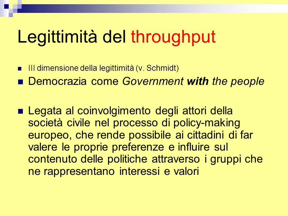 Legittimità del throughput III dimensione della legittimità (v.