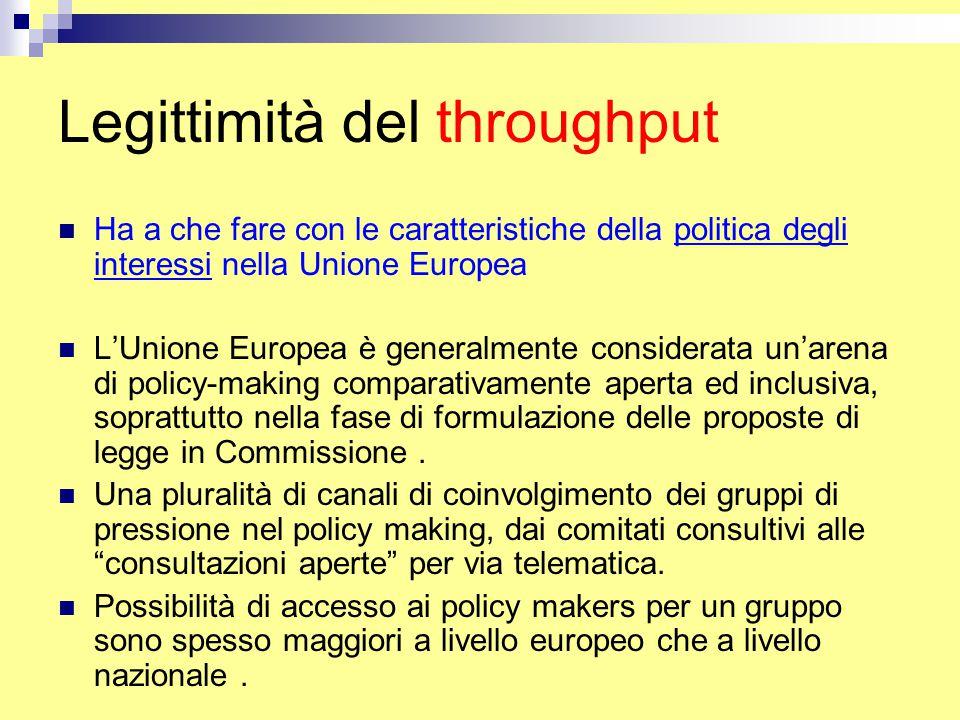 Legittimità del throughput Ha a che fare con le caratteristiche della politica degli interessi nella Unione Europea L'Unione Europea è generalmente considerata un'arena di policy-making comparativamente aperta ed inclusiva, soprattutto nella fase di formulazione delle proposte di legge in Commissione.