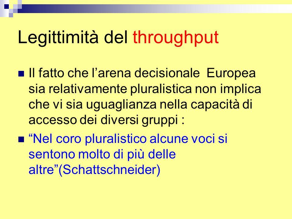 Legittimità del throughput Il fatto che l'arena decisionale Europea sia relativamente pluralistica non implica che vi sia uguaglianza nella capacità di accesso dei diversi gruppi : Nel coro pluralistico alcune voci si sentono molto di più delle altre (Schattschneider)
